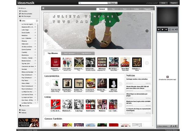 La versión Web de ideasmusik, el portal de Claro