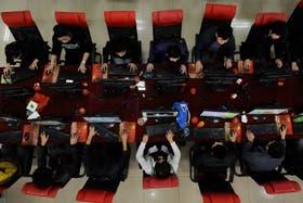 Un cibercafé en Taiyuan, China