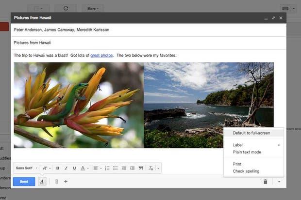 Una vista de la nueva interfaz de Gmail para crear mensajes de correo electrónico