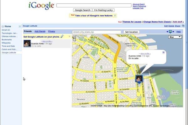 Así se ve la pantalla de iGoogle luego de que un usuario local muestra su ubicación en Buenos Aires