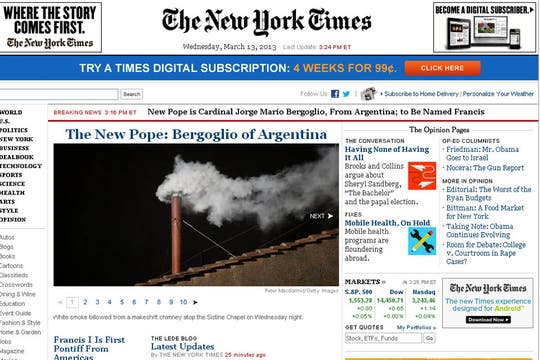 The New York Times, EEUU. Foto: Captura de Pantalla