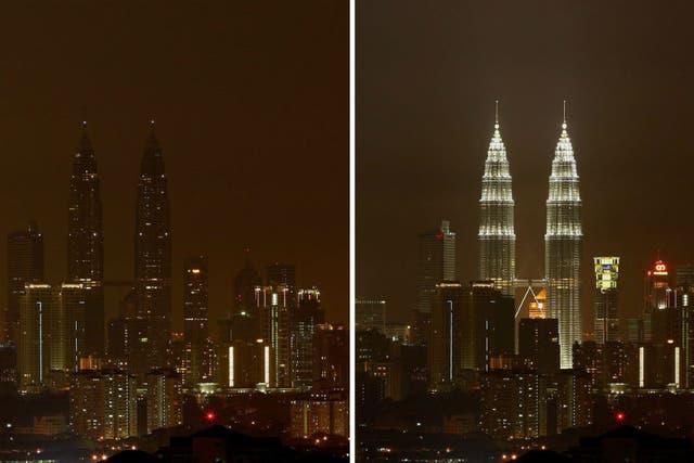 Las Torres Petronas lucen apagadas en Malasia