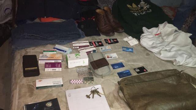 Los objetos que se encontraron en el cuarto que habitaba