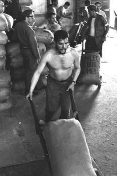 Realizando trabajo voluntario en los muelles de Cuba 7 de mayo de 1961. Foto: Fotografía del libro Che Guevara, la vida en juego