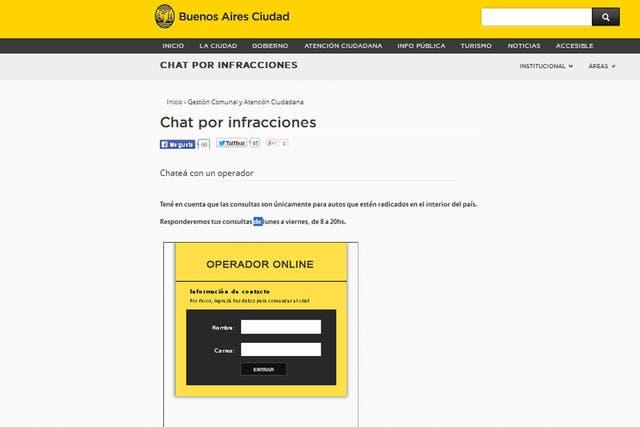 Una ayuda en línea con el chat por infracciones