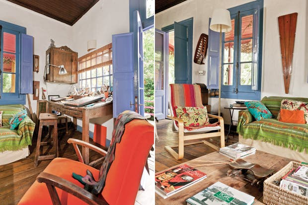 En el escritorio de Richard, el mobiliario procede de distintos orígenes; algunos, incluso, viajaron desde La Pedrera, en Uruguay. Mantas, aguayos (Arte Escondido) y almohadones (Falabella) agregan calidez a los sillones..