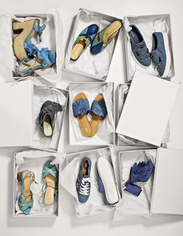 1. Plataforma con volado (The Bag Belt). 2. Zapato tricolor (Jessica Kessel). 3. Pancha con apliques (Aldo by Falabella). 4. Taco con moño (Ricky Sarkany). 5. Chatita con moño (A Pie). 6. Sandalia de charol (Blaquè). 7. Zapatilla con flores (A Pie). 8. Con plataforma y volado (Ricky Sarkany)