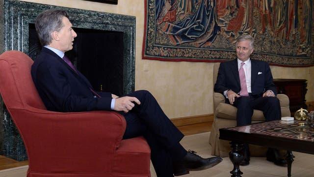 Mauricio Macri y Juliana Awada, en el palacio con los Reyes de Bélgica. Foto: Presidencia de la Nación