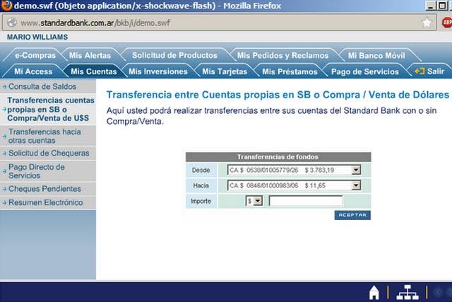 Una página de demostración del servicio de home banking del Standard Bank