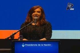 Cristina, durante el anuncio