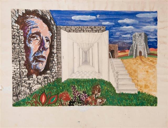 Sin título (ilustración para La moneda de hierro de Jorge Luis Borges), c. 1976, pintura y lápiz s/papel