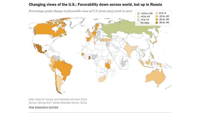 Mapa de la imagen de EE.UU. al rededor del mundo