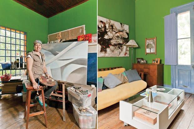 """""""La Pintada"""" está formada por dos casas, una de 1880 y otra de 1920, ambas típicas del Tigre, construidas sobre pilotes y con techos de chapa.."""
