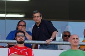 El presidente de los rojos, durante el partido con River