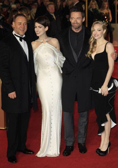 Russell Crowe, Anne Hathaway, Hugh Jackman y Amanda Seyfried, los encargados de encarnar a los principales personajes de la película. Foto: /AP