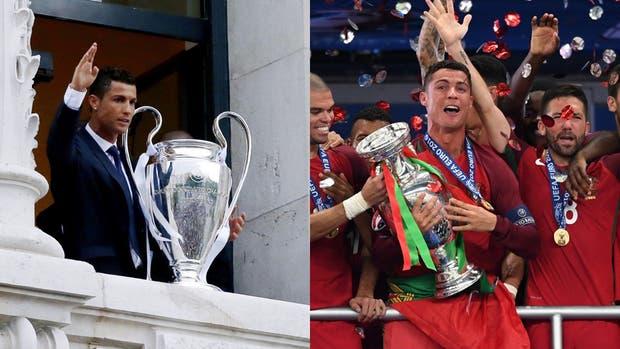 Los dos grandes festejos de Cristiano: la Champions League con Real Madrid y la Eurocopa con Portugal
