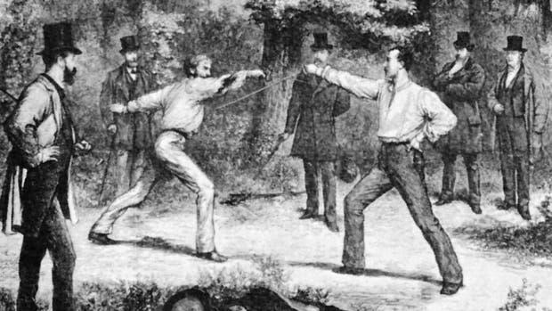 Duelo representado por el pintor G. Durand