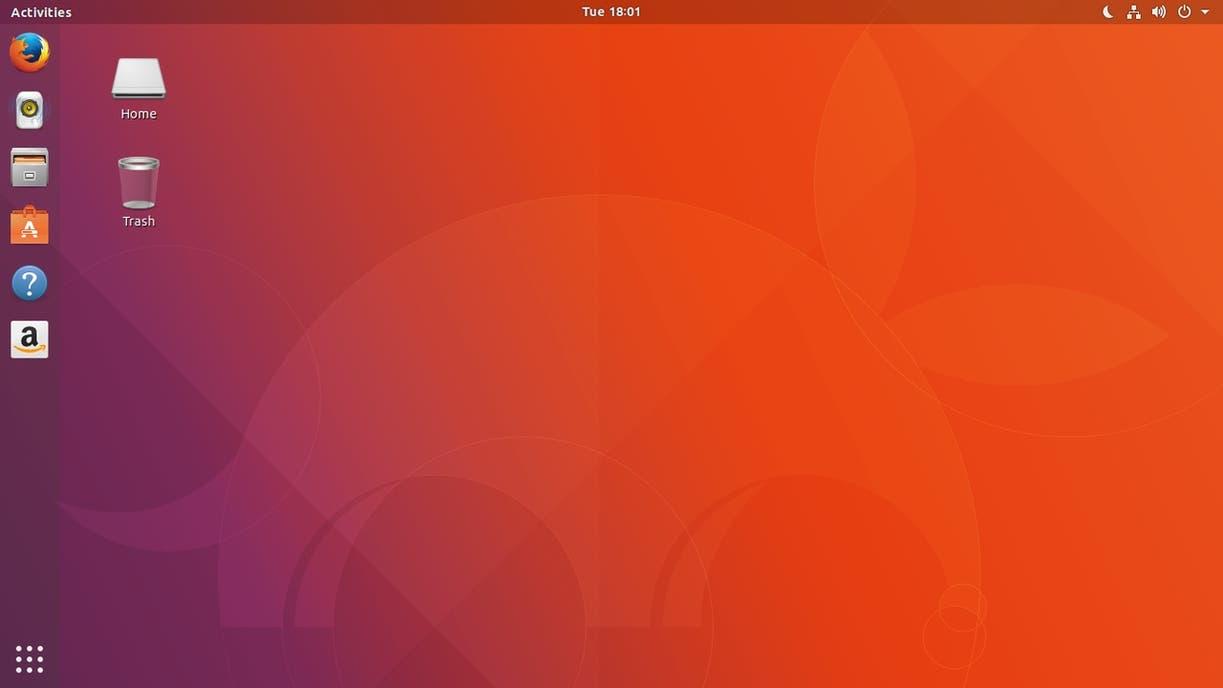 La vista inicial del nuevo Ubuntu 17.10
