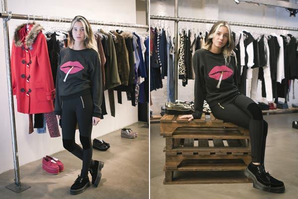 Lucía Celasco tampoco se quiso perder la nueva colección de Aynot Dead. Fiel a su estilo rocker, esta vez optó por calzas con pitucones en las rodillas, creepers y buzo. Foto: Gentileza Mass Grupo PR