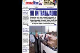 La tapa del diario Prensa Libre, de Lázaro Báez, con la noticia del informe de Lanata