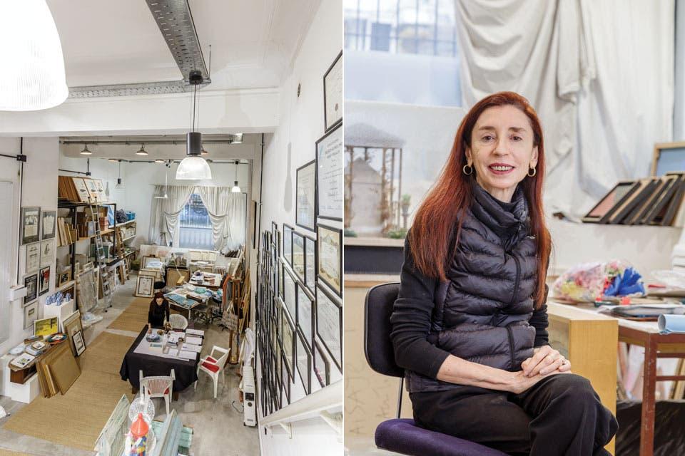 El taller, proyectado por la arquitecta Gabriela di Pietro tiene un sistema de iluminación con caños de hierro a la vista y bandejas de chapa perforada (Standard) con lámparas de policarbonato (Beltrame).  /Daniel Karp