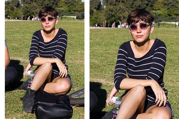 Vestido negro con rayas blancas (siempre es mejor que el fondo sea oscuro y que las rayas sean bien finas para que no ensanche los hombros) y lentes de sol de acetato transparente. Foto: Agustina Ferreri
