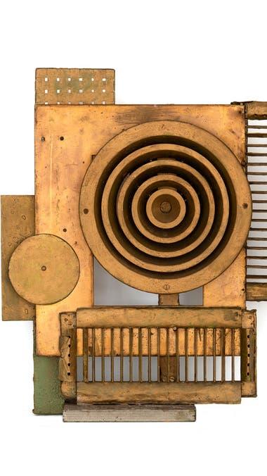 Escultura en metal de extractor, enrejado y madera, Sin título, 1972 (detalle)