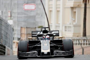 Romain Grosjean en las pruebas del Gran Premio de Mónaco.