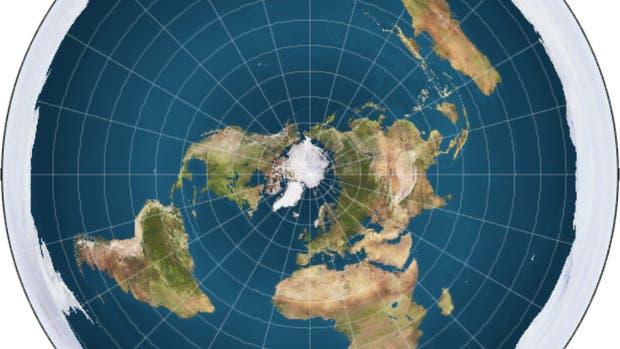 El mapa de la Tierra según la Flat Earth Society