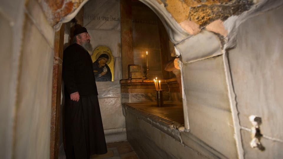 El templo del Santo Sepulcro estuvo abierto al público durante todo el proceso de restauración y sólo fue cerrado durante 36 horas. Foto: AP / Sebastian Scheiner