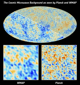 Los satélites COBE (Cosmic Background Explore) y WMAP (Wilkinson Microwave Anisotropy Probe) ya habían producido versiones anteriores en 1992 y 2003, pero no en forma tan nítida como el Planck, lanzado en 2009
