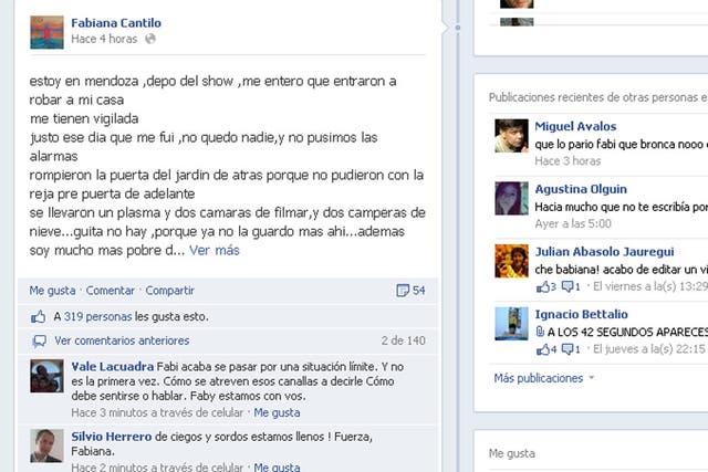 La cantante expresó su indignación y malestar en su muro Facebook