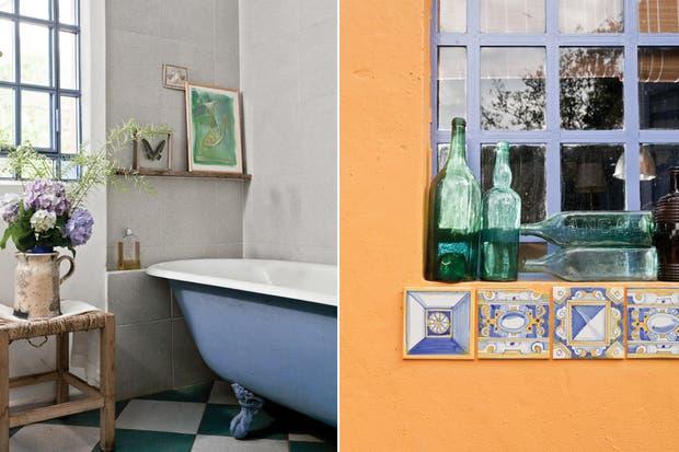 , En el baño revestido en cemento alisado da la nota una vieja bañadera con patas pintada en el mismo azul de las puertas y ventanas..