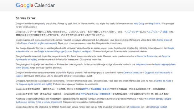 El mensaje de error de Google Calendar, en un incidente que también afectó al servicio de mensajería Hangouts
