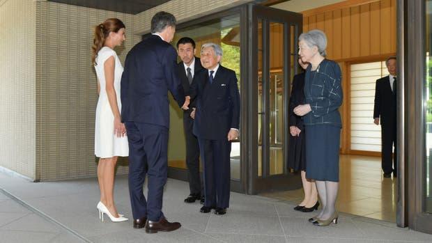 Macri y Awada fueron recibidos por el emperador Akihito y su esposa Michiko, en el Palacio Imperial de Tokio