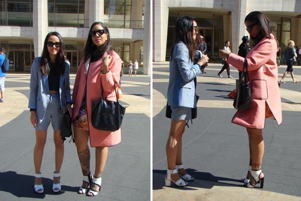 Dos amigas en colores pastel. ¿Lo habrán planeado?. Foto: Candelaria Palacios