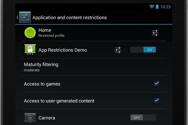 El panel de control de usuario en Android 4.3