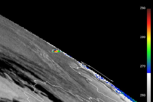 El satélite geoestacionario Meteosat-9 capta una imagen geotérmica al momento del impacto del meteorito