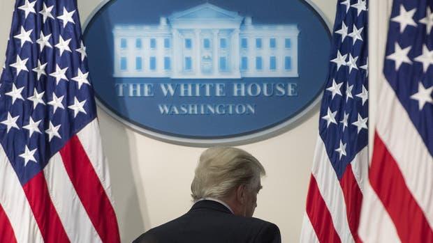 Trump, ayer, tras hablar ante la Comisión de Asesoramiento Presidencial sobre Integridad Electoral en la Casa Blanca
