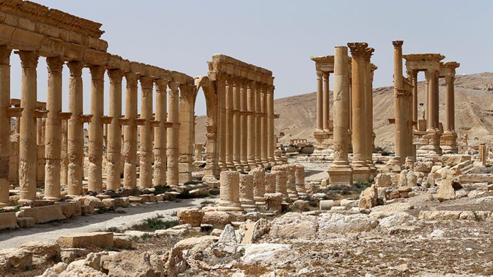 Una imagen tomada el 8 de abril de 2016 muestra el estado en que quedó la antigua ciudad de Palmira. Foto: AP / Russian Defense Ministry Press Service Photo via AP