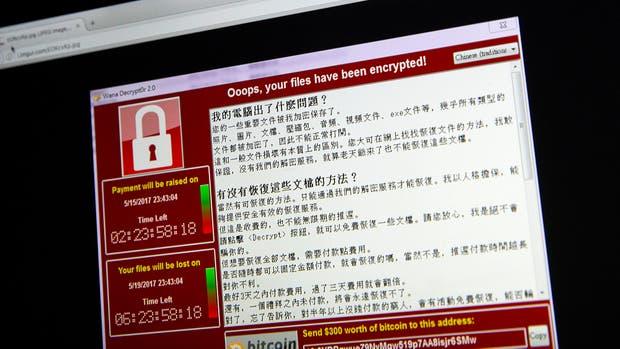 Una vista del cartel que solicita el rescate por los archivos encriptados por WannaCry, el ransomware que afectó a millones de computadoras en todo el mundo