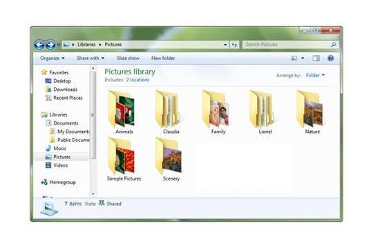 Una de las ventanas del Windows 7 muestra las carpetas que contienen imágenes. Foto: Microsoft