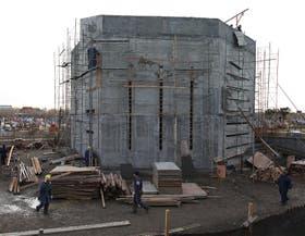 Vista de la obra en construcción, en el cementerio de Río Gallegos