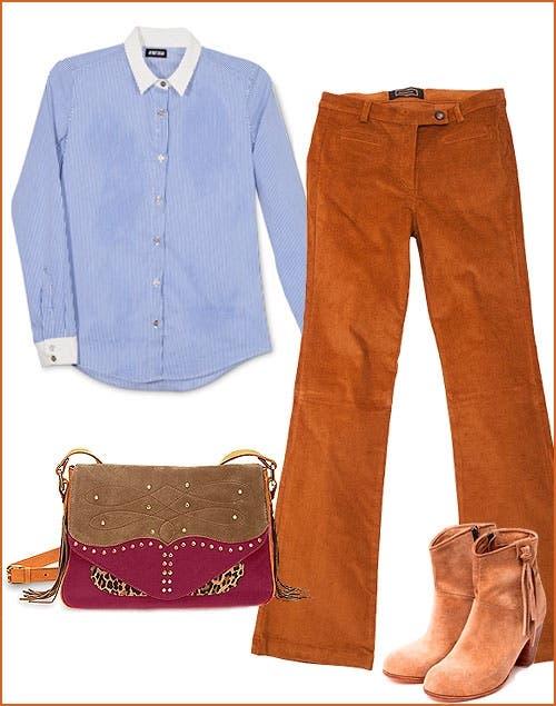 Para ir a trabajar o para una salida con amigas: Pantalón mostaza (Markova, $658). Camisa (Aynotdead, $698 ). Botas (Chocolate, $1600). Cartera (Lazaro, $1398).