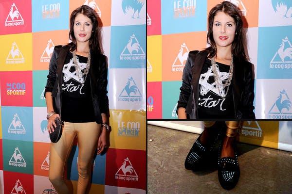La modelo Guadalupe Juarez también estuvo en el evento de Le Coq. Se puso unas calzas doradas -muy a la moda- y lo combinó con negro. ¡Nos encantaron los mocasines!. Foto: Gentileza Tip Comunicación