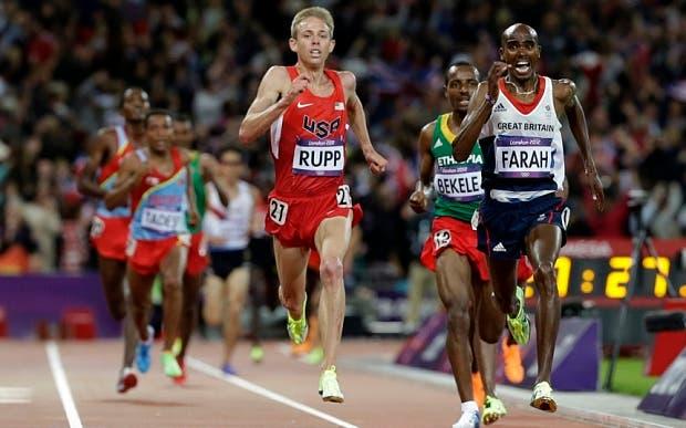 Mo Farah y Galen Rupp, en acción.