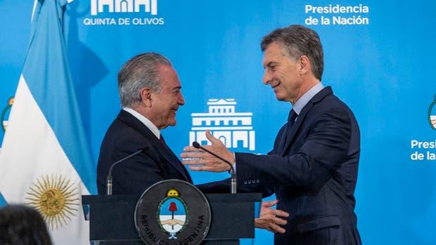 Macri y Temer en una reunión en octubre del año pasado