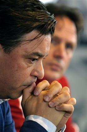 Gallardo y Hansing, en la conferencia de prensa en junio por los casos de doping