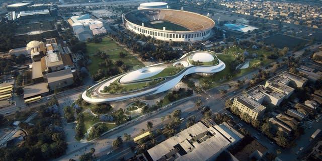 Render de la vista aérea del parque Exposition que albergará el museo, que será vecino de la Universidad del Sur de California (USC, por sus siglas en inglés) donde Lucas estudió cine