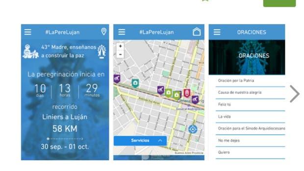 Imágenes de la aplicación que desarrolló el gobierno bonaerense